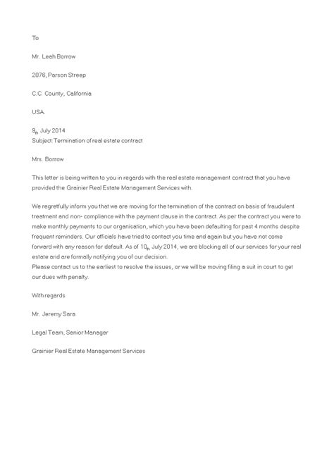 real estate contract termination letter templates
