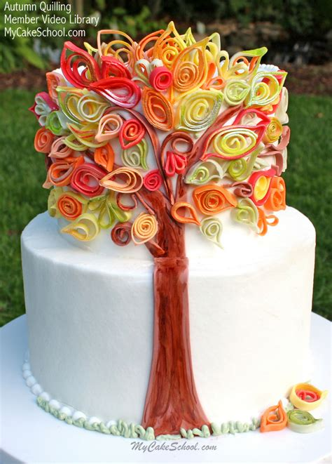 tutorial quilling in pdz quilling with fondant video an autumn cake my cake school