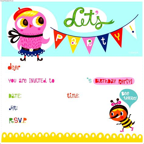 birthday invitation template for kids sle templates