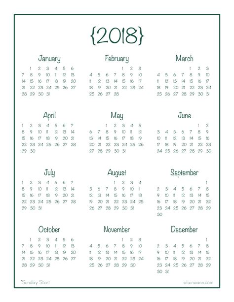 printable calendar year 2018 2018 year at a glance calendar free printable alaina ann