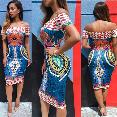 africa ladies print wares feitong women sexy off shoulder dress 2016 newtraditional