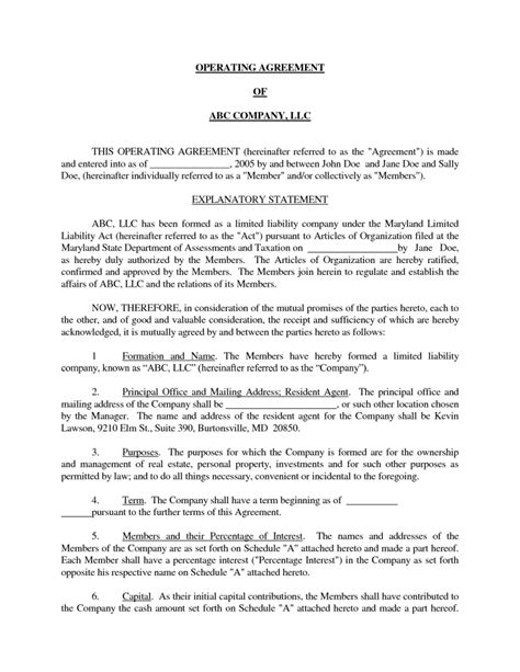 operating agreement templates llc operating agreement template cyberuse