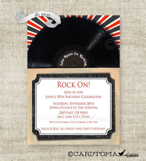 printable record invitations 328 best images about birthday invitations adult on