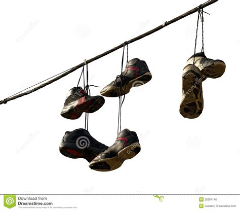 hanging photos on wire sneakers hanging on a telephone line royalty free stock image image 26281146