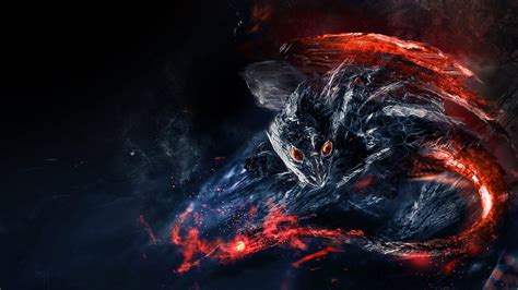 wallpaper fire dragon lava flame darkness