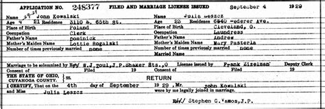 Cleveland County Marriage Records Kowalski Family Documents The Spiraling Chains Kowalski Bellan Family Trees