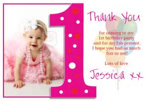 10 personalised 1st birthday thank you photo - Thank You Cards Birthday