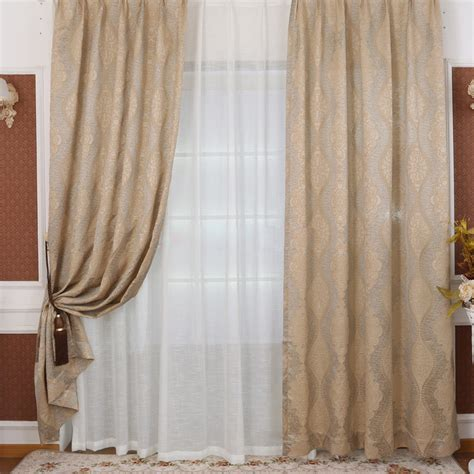 Elegant and shabby chic window curtains in beige for bedrooms