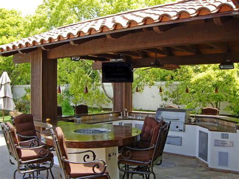 pergola outdoor kitchen outdoor kitchen with round table and pergola
