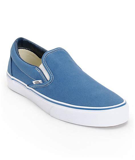 vans classic navy slip on skate shoes mens at zumiez pdp