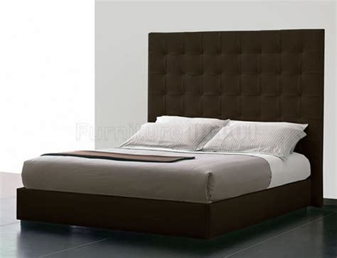 contemporary bedroom with brown leather queen platform bed
