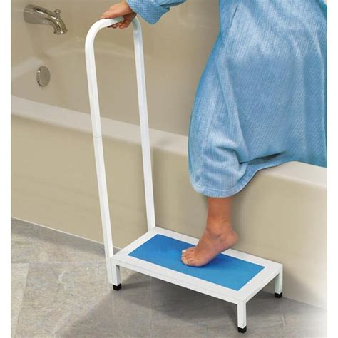 bathtub aids for elderly bath shower step with handle at support plus fe1832
