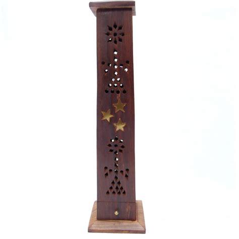 porte encens bois porte encens ethnique en bois avec cendrier et clip combustion