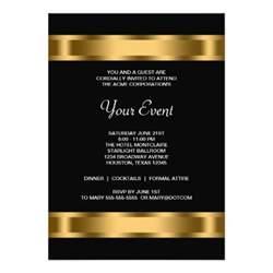 invitation card for business event black gold black corporate event 5x7 paper