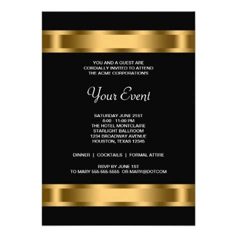business invitations templates black gold black corporate event 5x7 paper