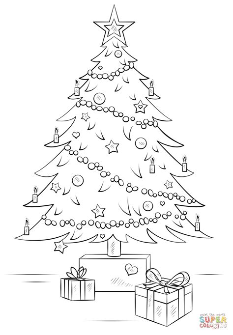 Christmas Tree With Gift Boxes Coloring Page Free Tree With Gifts Coloring Page