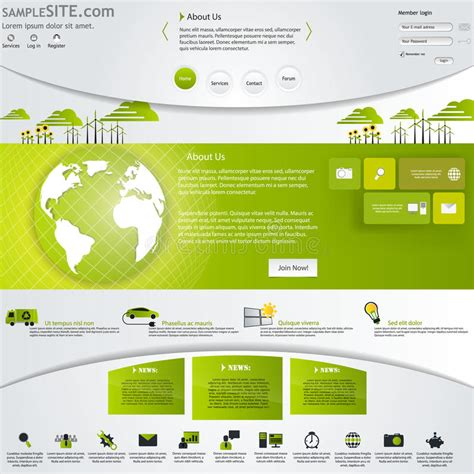 eps format web green eco website template with icons set stock vector