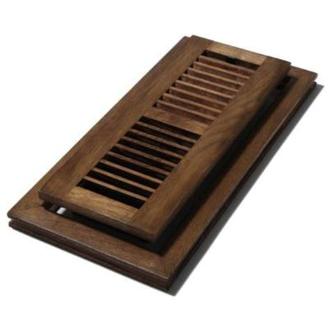 decor grates 4 in x 12 in wood natural hickory saddle flush mount floor register wlfh412 s