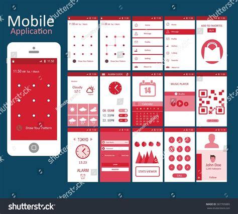 app layout elements mobile application interface concept vector illustration