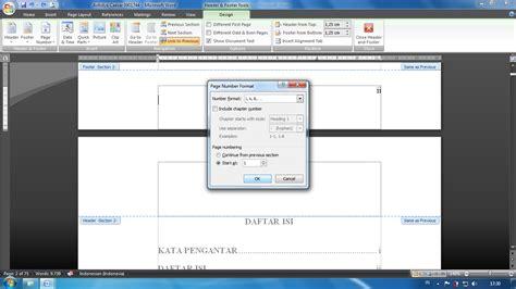 format file dalam gambar menyisipkan format nomor halaman yang berbeda dalam satu