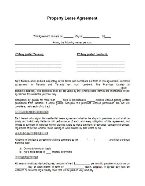 real estate lease agreement template printable sle rental lease agreement template form