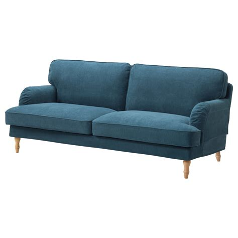 blue ikea sofa stocksund three seat sofa tallmyra blue light brown wood