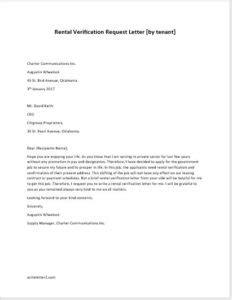 Rent Verification Letter rental verification request letter by tenant writeletter2 com