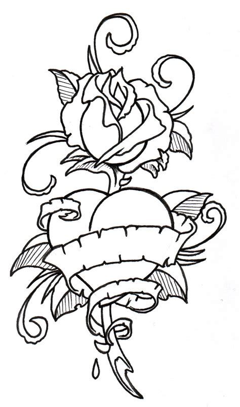 heart rose tattoo designs drawings of hearts with banners cliparts co