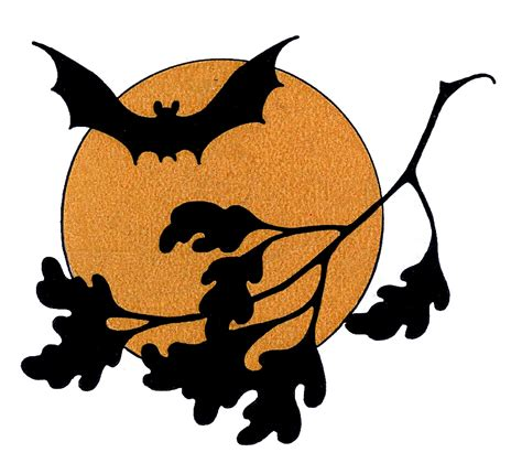 Holloween Clipart vintage clip bat with moon the graphics