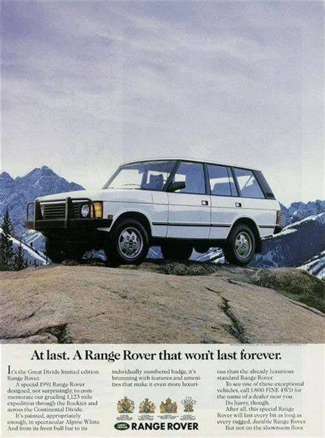 vintage land rover ad at last a range rover that won t last forever great