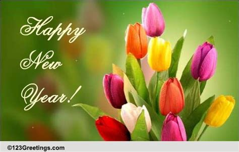 colorful and bright new year free flowers ecards