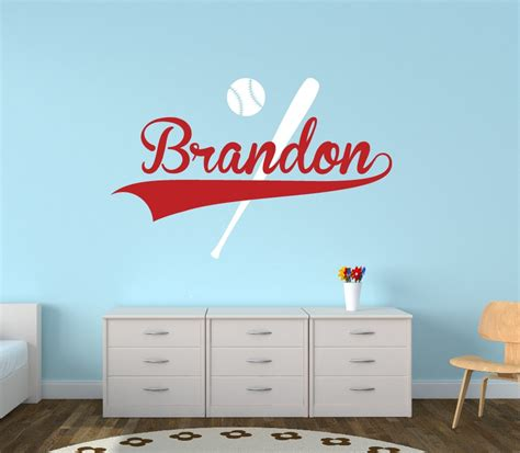 sports wall stickers personalized baseball name wall decal boys name wall decal