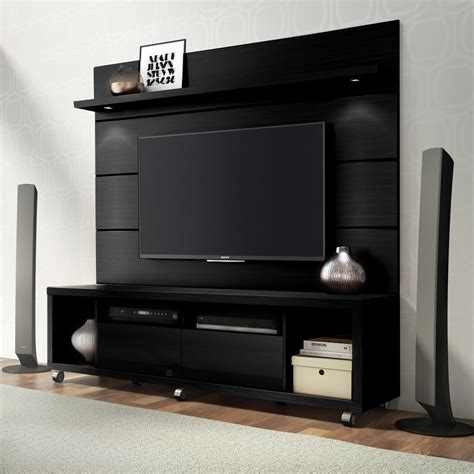 wall cabinet tv stand cabrini tv stand and tv panel w led lights 1 8 black buy