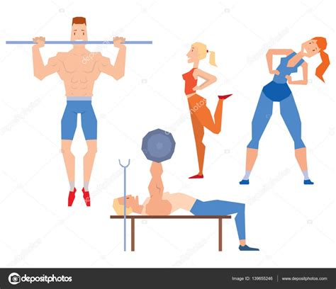 imagenes fitness dibujos vector de dibujos animados deporte gimnasio personas