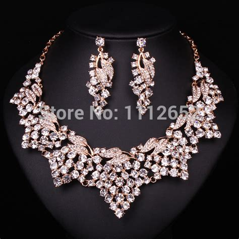 Fashion Bridal Jewelry Sets fashion clear rhinestone bridal jewelry sets necklace