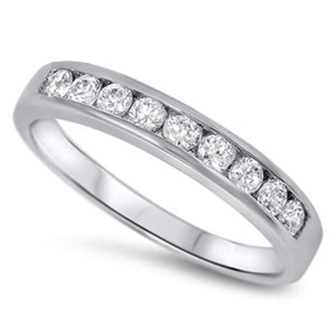 Wedding Rings Sterling Silver by Wedding Ring New 925 Sterling Silver Modern Band Ebay