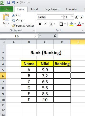 rumus membuat ranking di excel 2007 membuat ranking menggunakan rumus rank pada excel 2010