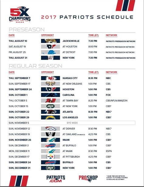 printable schedule for new england patriots new england patriots release 2017 schedule nbc connecticut