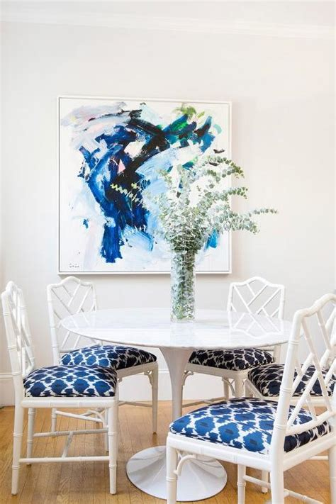 Blue White Dining Room by Gray Dining Table With White Dining Chairs Transitional