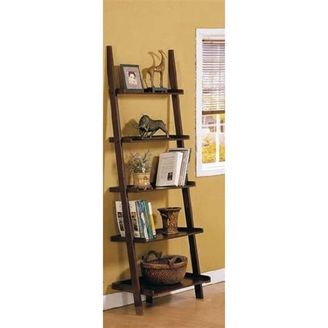 leaning ladder bookshelves espresso brown leaning bookcase