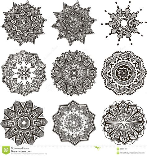 www mandala set of black and white mandalas stock vector image 56821431