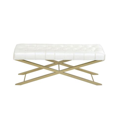 narrow white bench metal bedroom benches emily henderson husband emily