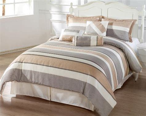 Bedinabag Bedding Sets Http Archinetix Bachelor 7pc Comforter Set Beige Grey Coffee Luxury Stripe Bedinabag King