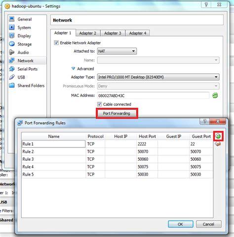 virtualbox forwarding box forwarding for hadoop