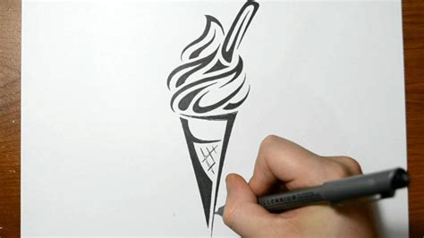 drawing an ice cream cone tribal tattoo design style