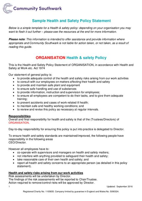 19 health and safety policy exles sles