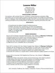 pharmacy technician resume sle experience resumes