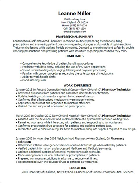Healthcare Medical Resume: 69 Pharmacy Technician Resume