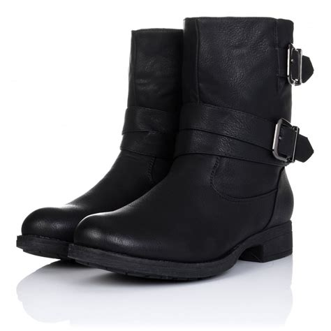 buy luxe flat buckle biker ankle boots black leather style