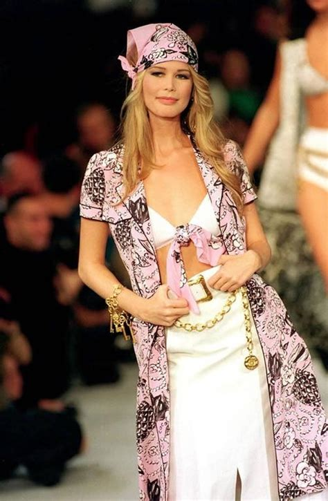 Catwalk To Carpet Schiffer In Chanel by Chanel Schiffer Runway Worn Coco Print Dress